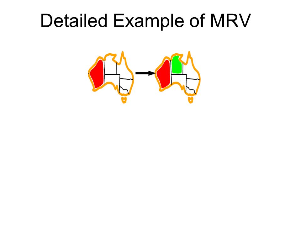 Next, NT and SA both have MRV = 2 Choose one randomly (e.g., NT=green) Do Forward Checking (next topic) MRV=3 MRV=2 MRV=3 MRV=2 MRV=3 MRV=1 AC-3 could solve the CSP now, but Forward Checking is too simple to see it.