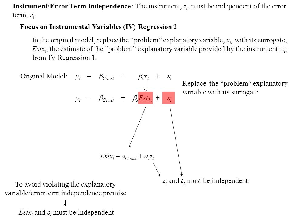 Original Model: Replace the problem explanatory variable with its surrogate To avoid violating the explanatory variable/error term independence premise z t and  t must be independent.