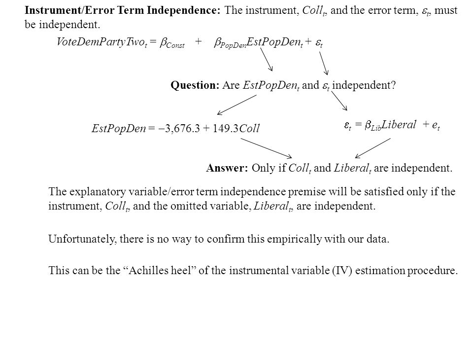 Instrument/Error Term Independence: The instrument, Coll t, and the error term,  t, must be independent.