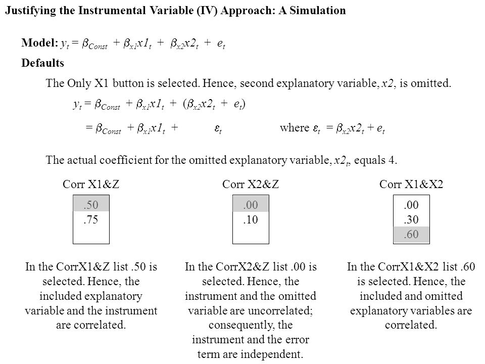 Justifying the Instrumental Variable (IV) Approach: A Simulation Model: y t =  Const +  x1 x1 t +  x2 x2 t + e t Defaults The Only X1 button is selected.
