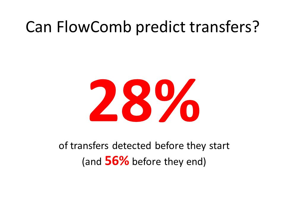 Can FlowComb predict transfers.