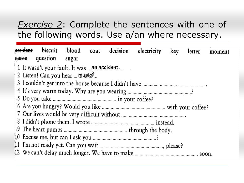 Exercise 2: Complete the sentences with one of the following words. Use a/an where necessary.