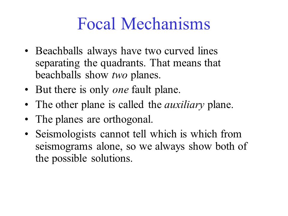 Focal Mechanisms Beachballs always have two curved lines separating the quadrants.