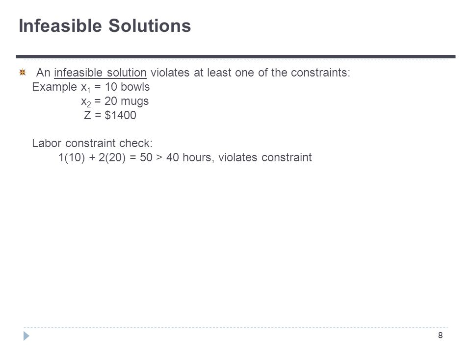 8 An infeasible solution violates at least one of the constraints: Example x 1 = 10 bowls x 2 = 20 mugs Z = $1400 Labor constraint check: 1(10) + 2(20) = 50 > 40 hours, violates constraint Infeasible Solutions