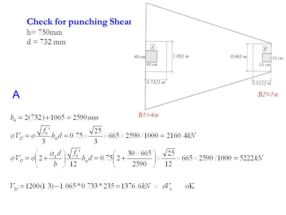 Check for punching Shear h= 750mm d = 732 mm A B1=4m B2=1m