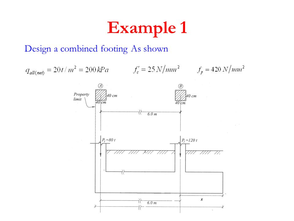Dimension calculation The base dimension to get uniform distributed load x2=6.2m x1=0.2m 800 kN 1200 kN x 2000kN A 800(0.2)+1200(6.2)=2000(x) x = 3.8m 2x =7.6 m 800 kN 1200 kN Try thickness =80cm