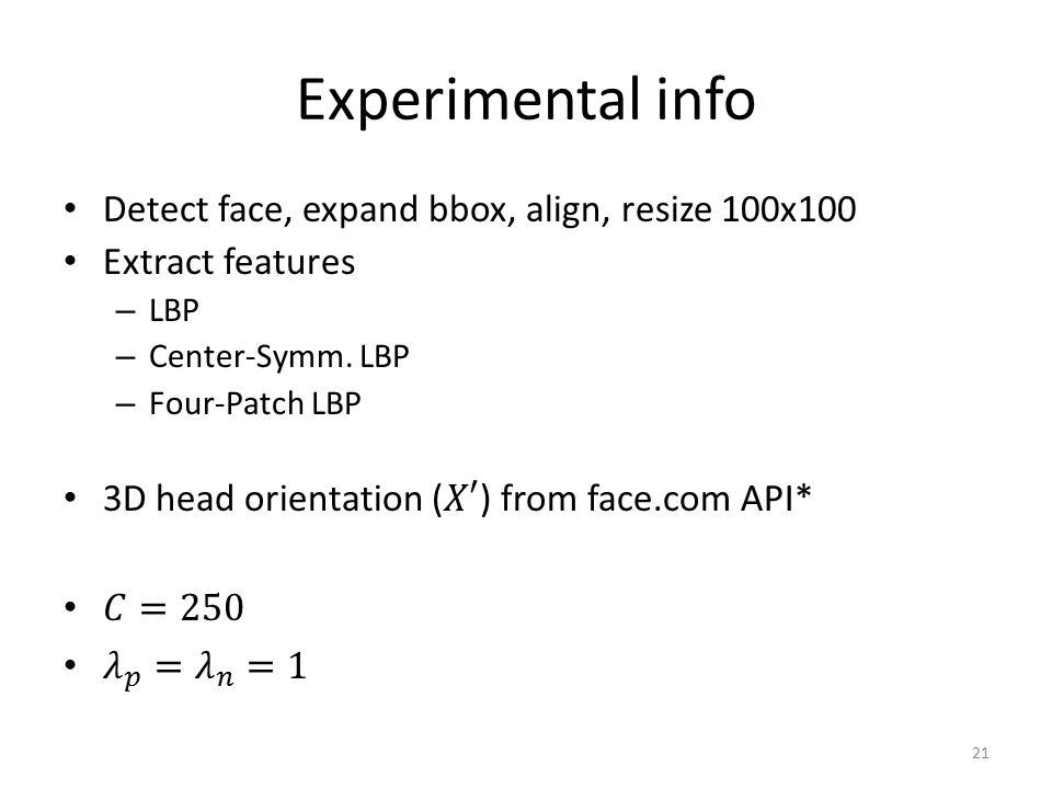 Experimental info 21