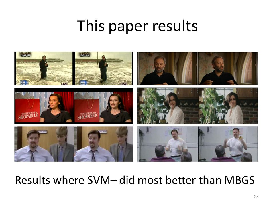 This paper results Results where SVM– did most better than MBGS 23