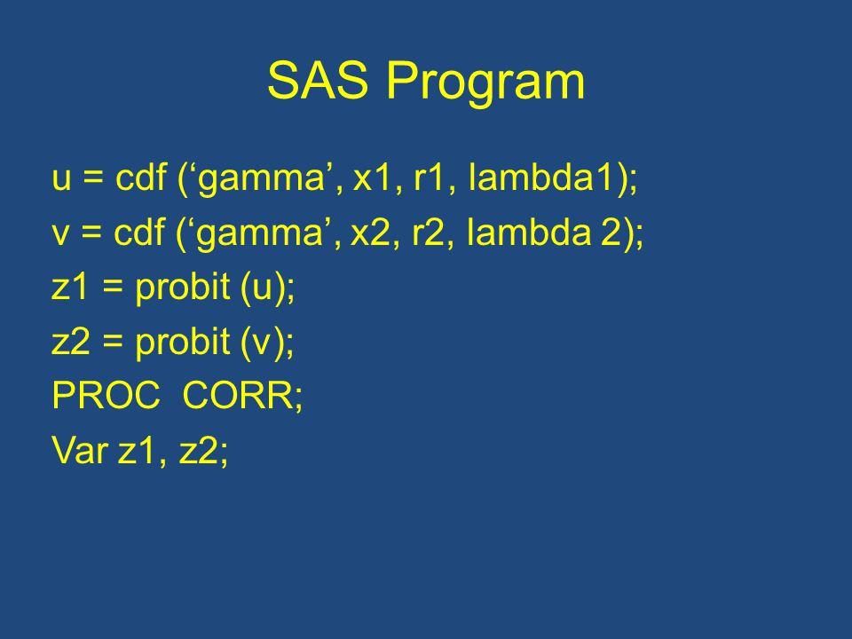 SAS Program u = cdf ('gamma', x1, r1, lambda1); v = cdf ('gamma', x2, r2, lambda 2); z1 = probit (u); z2 = probit (v); PROC CORR; Var z1, z2;