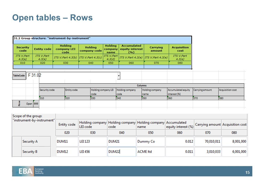 15 Open tables – Rows
