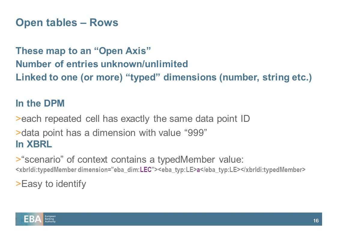 "16 Open tables – Rows These map to an ""Open Axis"" Number of entries unknown/unlimited Linked to one (or more) ""typed"" dimensions (number, string etc.)"