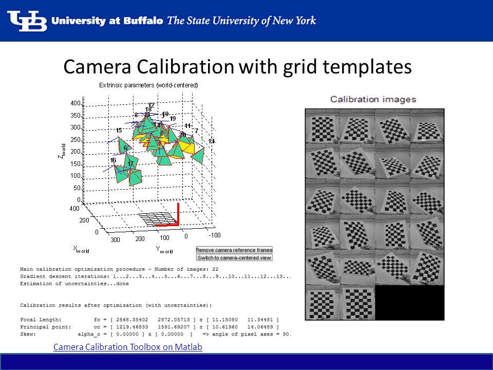 Camera Calibration with grid templates Camera Calibration Toolbox on Matlab