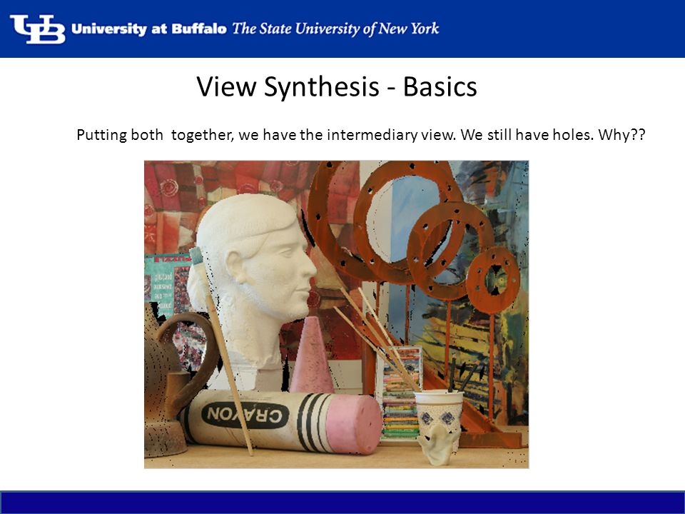 View Synthesis - Basics Putting both together, we have the intermediary view. We still have holes. Why??