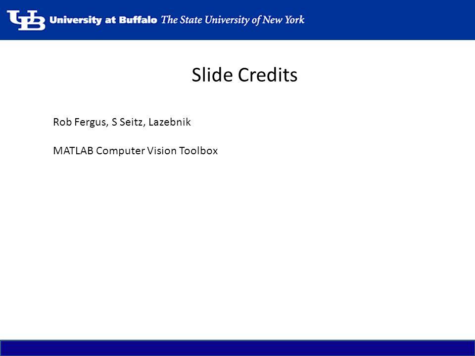 Slide Credits Rob Fergus, S Seitz, Lazebnik MATLAB Computer Vision Toolbox