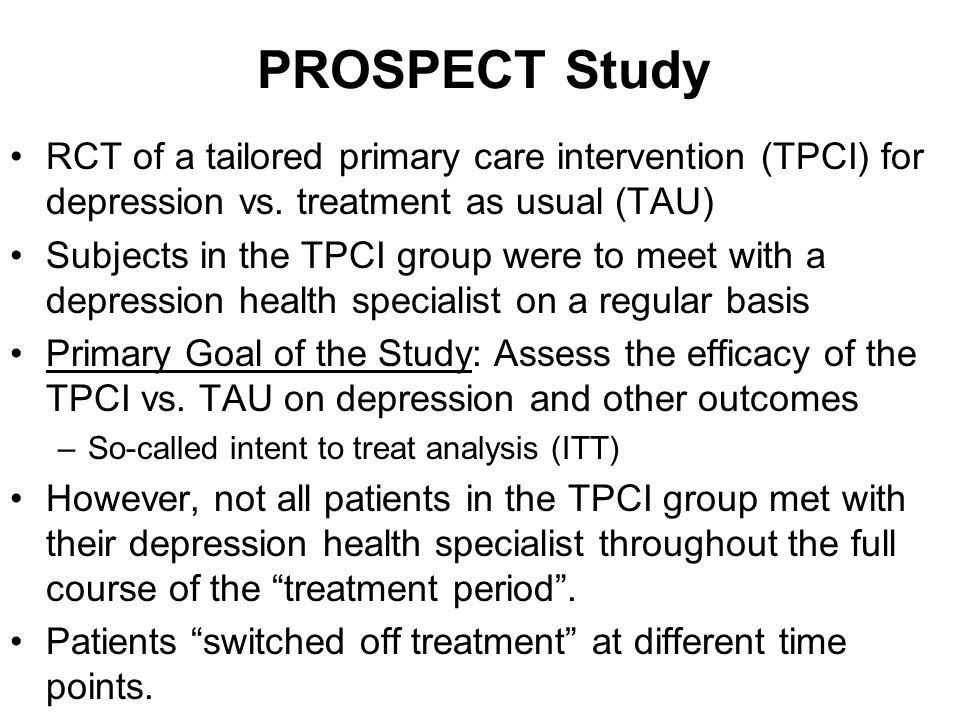 PROSPECT Study RCT of a tailored primary care intervention (TPCI) for depression vs.