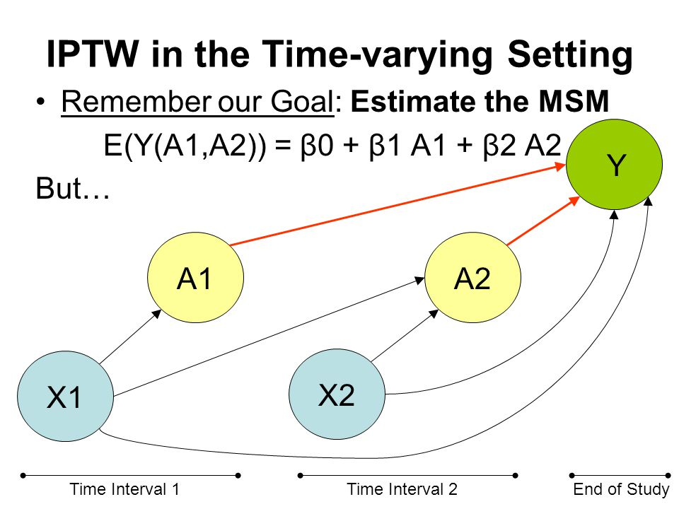 IPTW in the Time-varying Setting Remember our Goal: Estimate the MSM E(Y(A1,A2)) = β0 + β1 A1 + β2 A2 But… X1 X2 A1A2 Time Interval 1Time Interval 2En