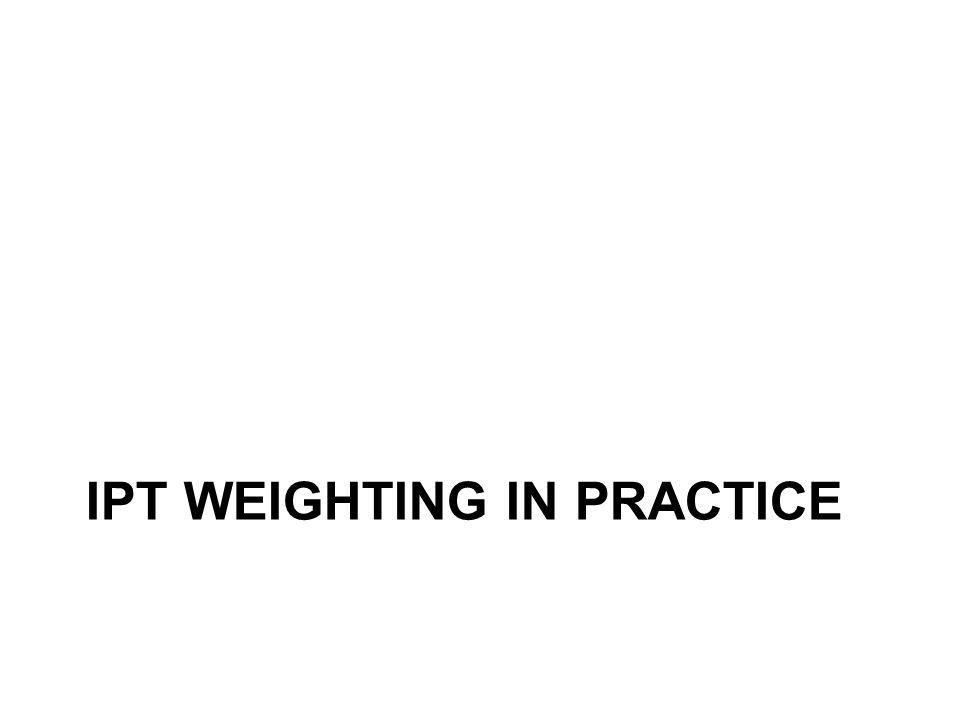 IPT WEIGHTING IN PRACTICE