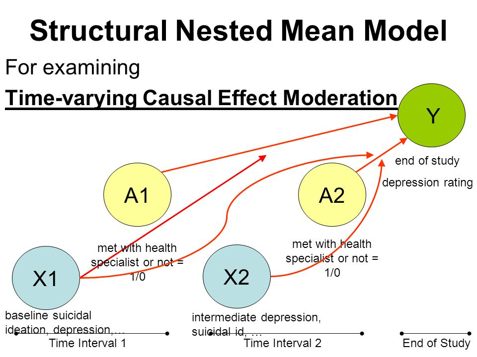 Structural Nested Mean Model For examining Time-varying Causal Effect Moderation X1 X2 A1A2 Y Time Interval 1Time Interval 2End of Study met with heal