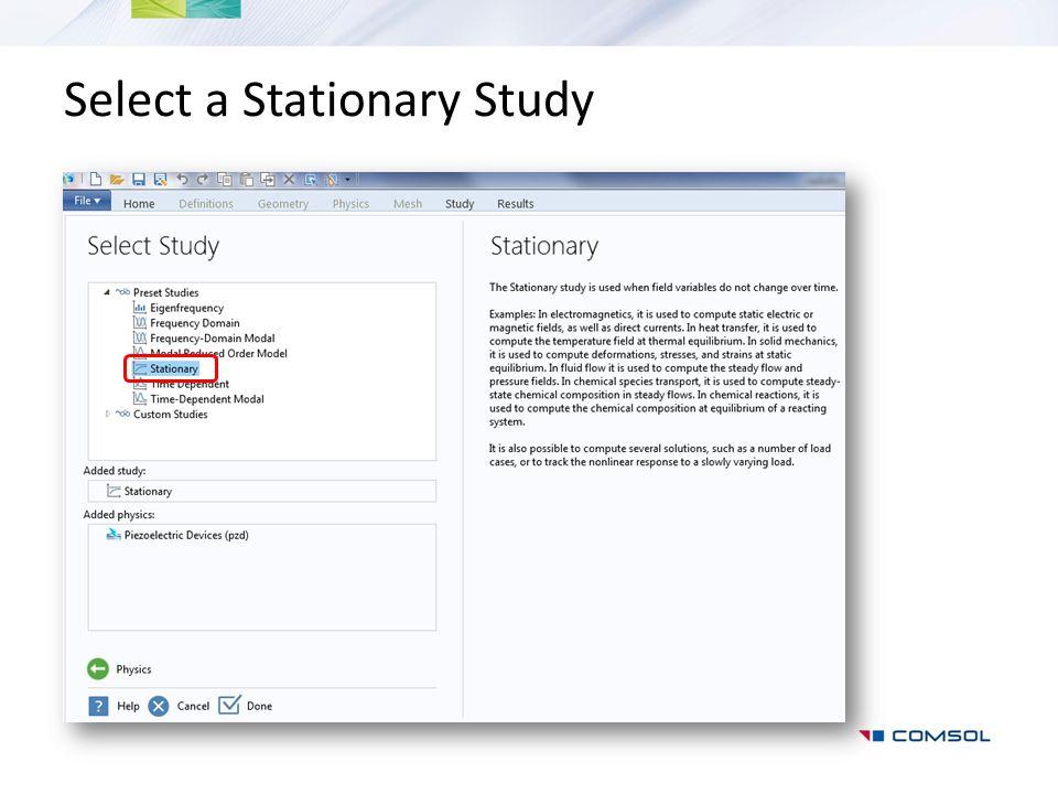 Select a Stationary Study