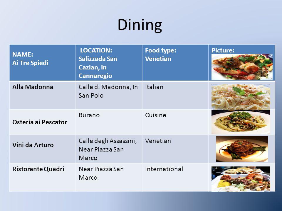 NAME: Ai Tre Spiedi LOCATION: Salizzada San Cazian, In Cannaregio Food type: Venetian Picture: Alla MadonnaCalle d.