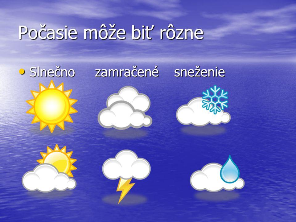 Počasie môže biť rôzne Slnečno zamračené sneženie Slnečno zamračené sneženie