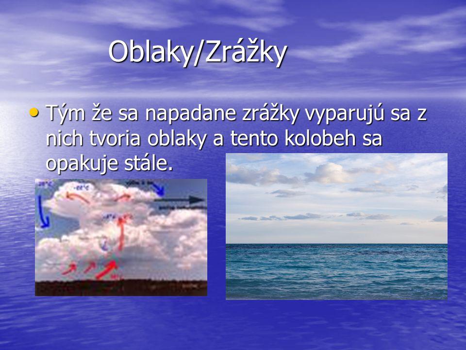 Oblaky/Zrážky Oblaky/Zrážky Tým že sa napadane zrážky vyparujú sa z nich tvoria oblaky a tento kolobeh sa opakuje stále.