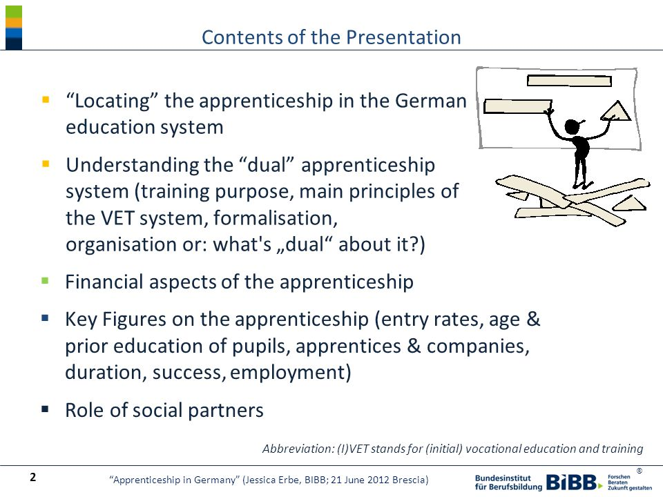 "® Contents of the Presentation 2  ""Locating"" the apprenticeship in the German education system  Understanding the ""dual"" apprenticeship system (trai"