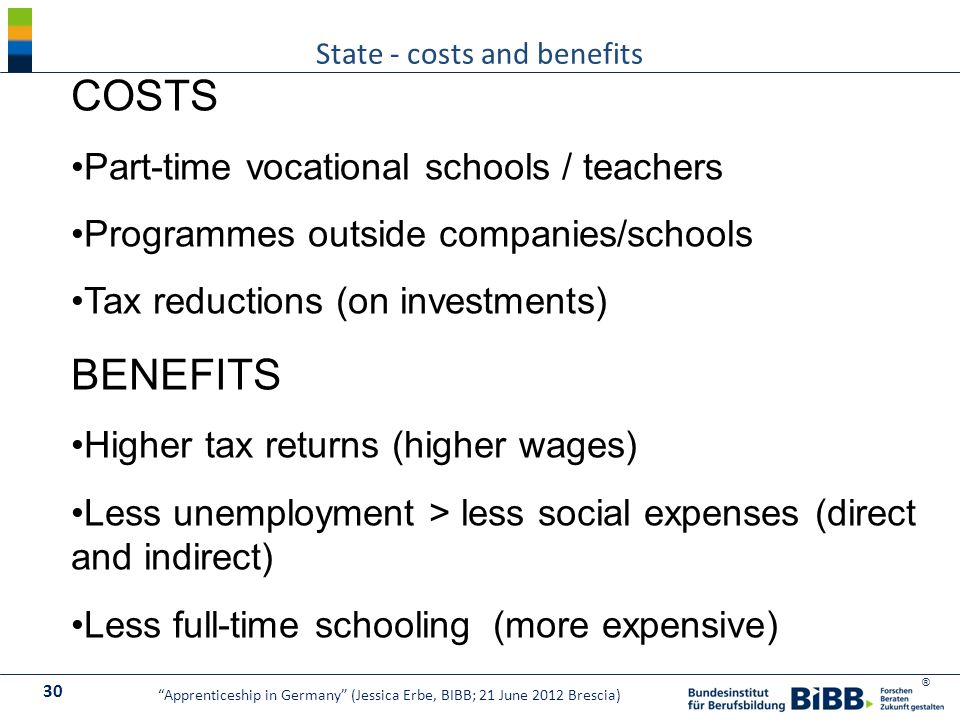 ® State - costs and benefits 30 Apprenticeship in Germany (Jessica Erbe, BIBB; 21 June 2012 Brescia) COSTS Part-time vocational schools / teachers Programmes outside companies/schools Tax reductions (on investments) BENEFITS Higher tax returns (higher wages) Less unemployment > less social expenses (direct and indirect) Less full-time schooling (more expensive)