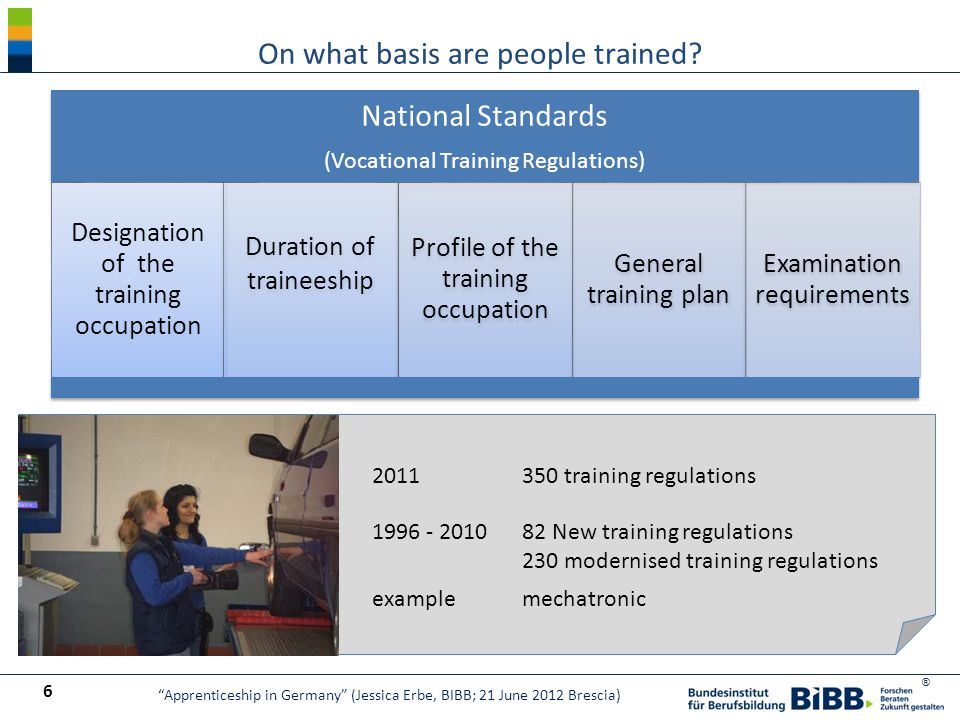 ® National Standards (Vocational Training Regulations) Designation of the training occupation Duration of traineeship Profile of the training occupati