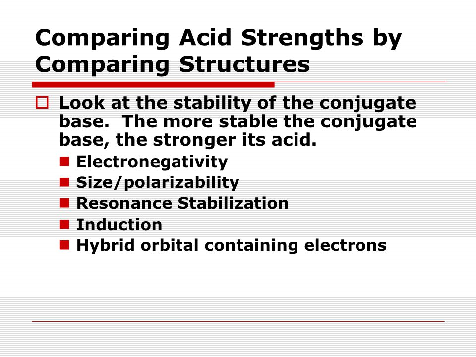 Comparing Acid Strengths by Comparing Structures  Look at the stability of the conjugate base.