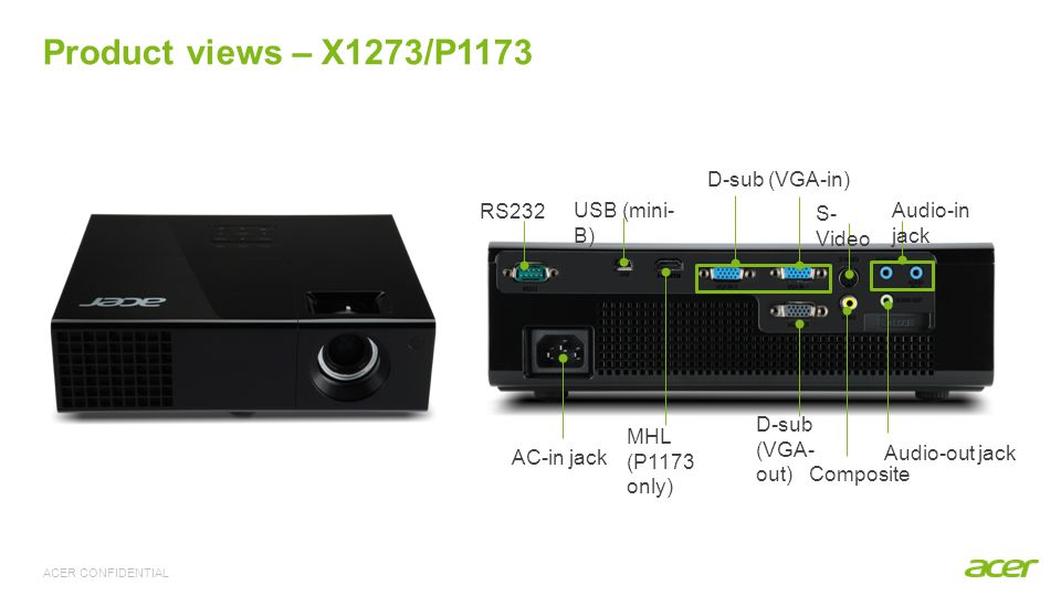 ACER CONFIDENTIAL RS232 D-sub (VGA-in) D-sub (VGA- out) Composite S- Video USB (mini- B) AC-in jack Audio-in jack Audio-out jack MHL (P1173 only) Prod