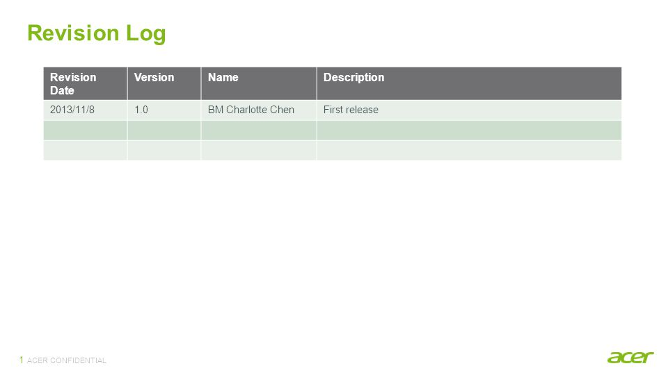 ACER CONFIDENTIAL 1 Revision Log Revision Date VersionNameDescription 2013/11/81.0BM Charlotte ChenFirst release