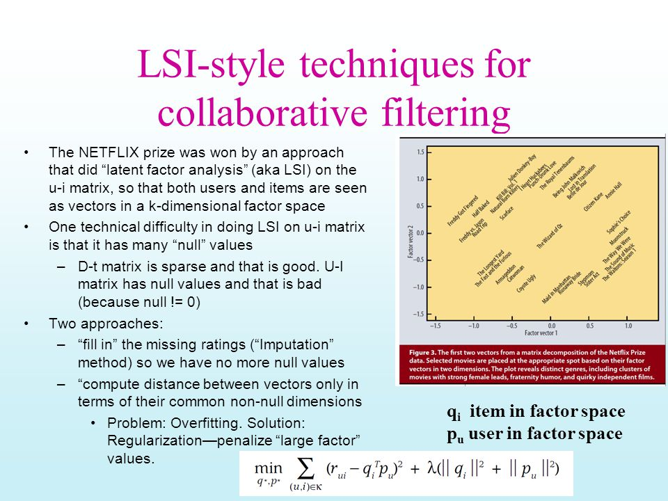 LSI-style techniques for collaborative filtering The NETFLIX prize was won by an approach that did latent factor analysis (aka LSI) on the u-i matrix, so that both users and items are seen as vectors in a k-dimensional factor space One technical difficulty in doing LSI on u-i matrix is that it has many null values –D-t matrix is sparse and that is good.