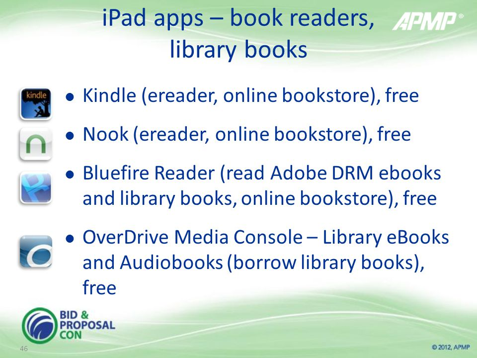 iPad apps – book readers, library books Kindle (ereader, online bookstore), free Nook (ereader, online bookstore), free Bluefire Reader (read Adobe DRM ebooks and library books, online bookstore), free OverDrive Media Console – Library eBooks and Audiobooks (borrow library books), free 46