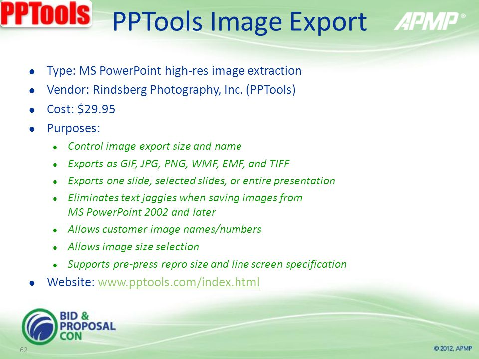 PPTools Image Export Type: MS PowerPoint high-res image extraction Vendor: Rindsberg Photography, Inc.
