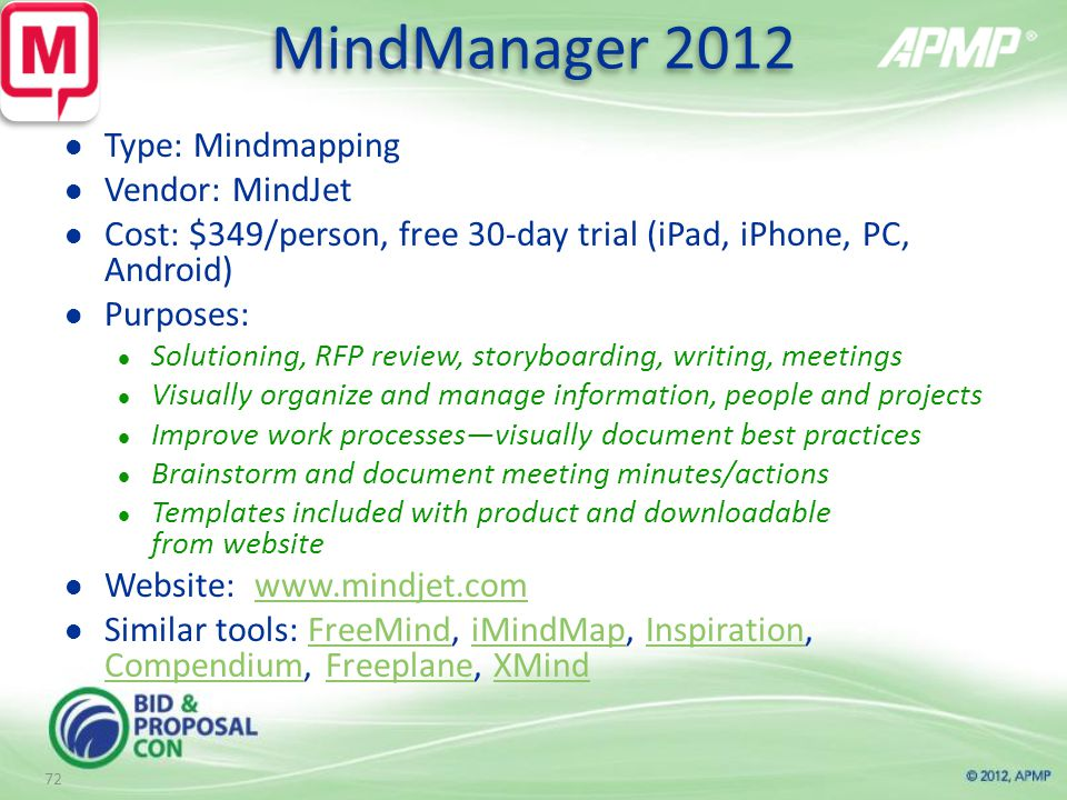 MindManager 2012 Type: Mindmapping Vendor: MindJet Cost: $349/person, free 30-day trial (iPad, iPhone, PC, Android) Purposes: Solutioning, RFP review, storyboarding, writing, meetings Visually organize and manage information, people and projects Improve work processes—visually document best practices Brainstorm and document meeting minutes/actions Templates included with product and downloadable from website Website:   Similar tools: FreeMind, iMindMap, Inspiration, Compendium, Freeplane, XMindFreeMindiMindMapInspiration CompendiumFreeplaneXMind 72