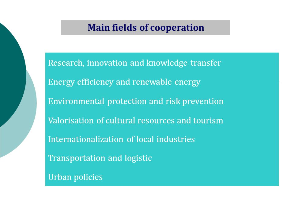 Research, innovation and knowledge transfer Energy efficiency and renewable energy Environmental protection and risk prevention Valorisation of cultural resources and tourism Internationalization of local industries Transportation and logistic Urban policies Main fields of cooperation