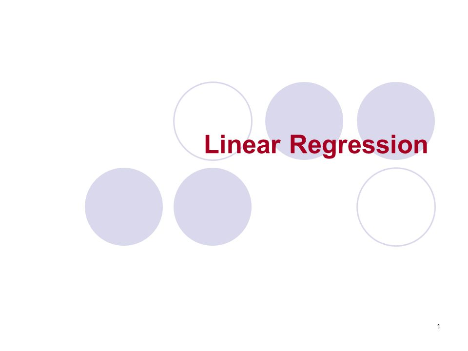1 Linear Regression
