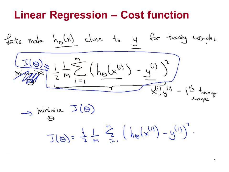 Linear Regression – Cost function 5