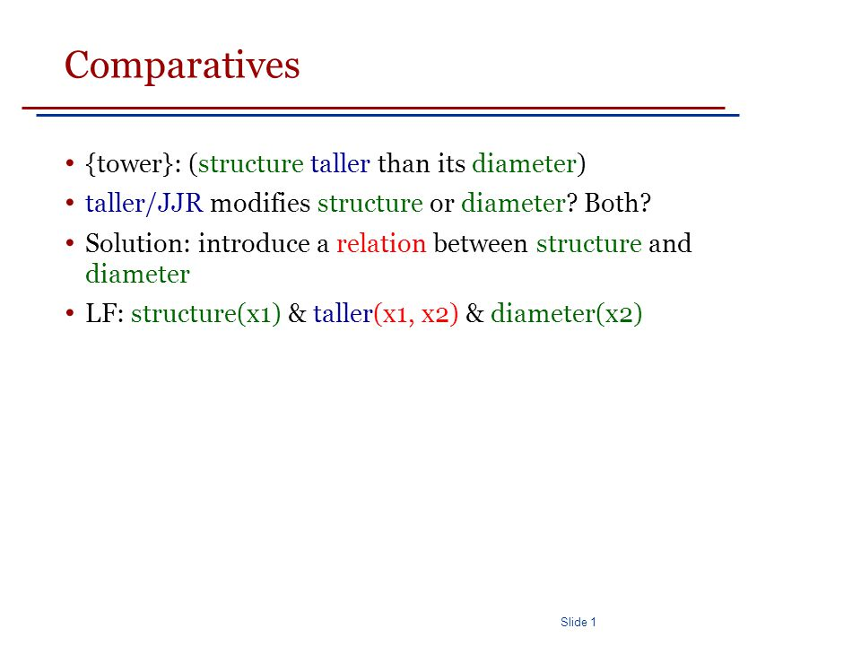 Slide 1 Comparatives {tower}: (structure taller than its diameter) taller/JJR modifies structure or diameter.