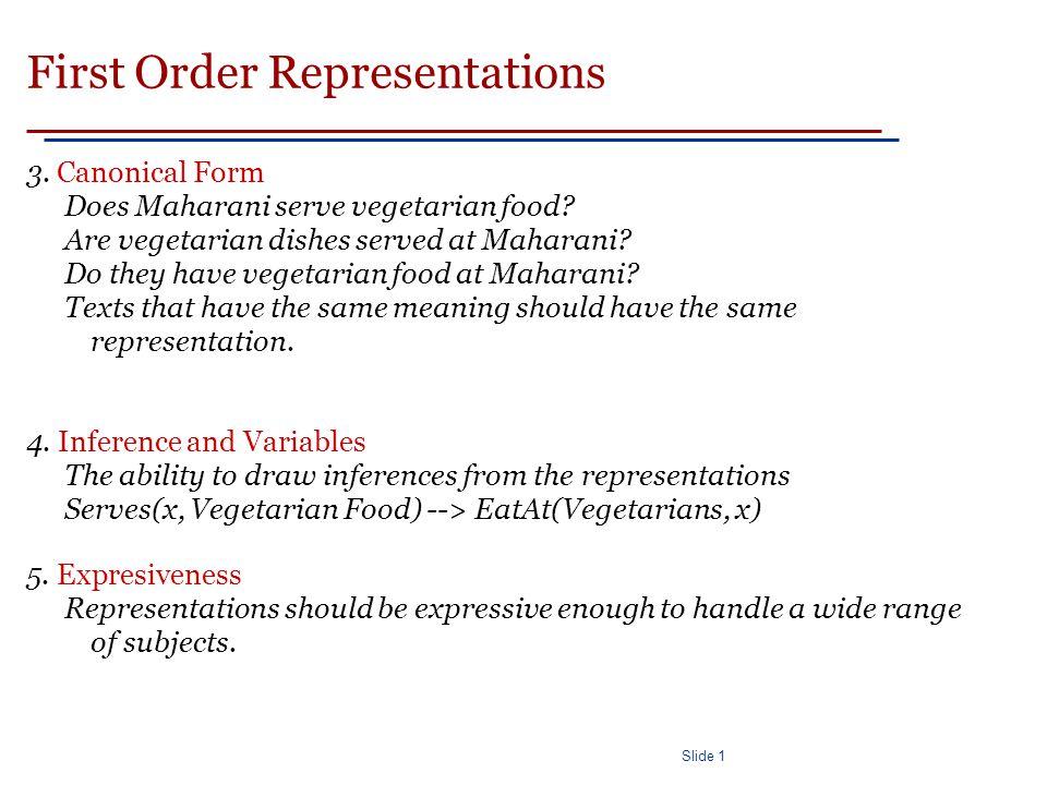 Slide 1 First Order Representations 3. Canonical Form Does Maharani serve vegetarian food.