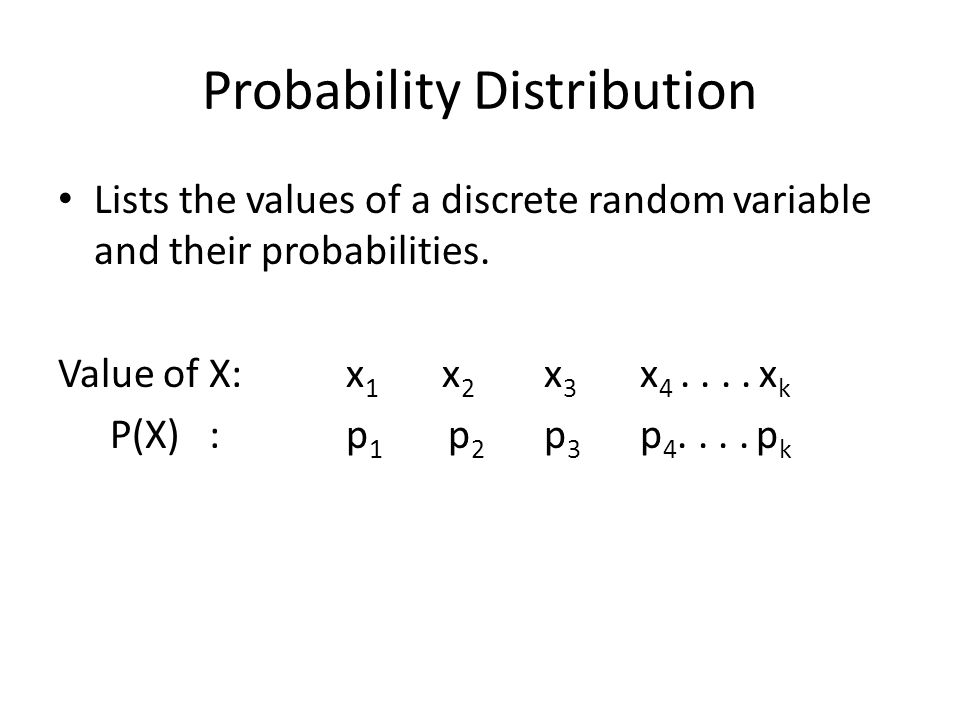 Probability Distribution Lists the values of a discrete random variable and their probabilities.