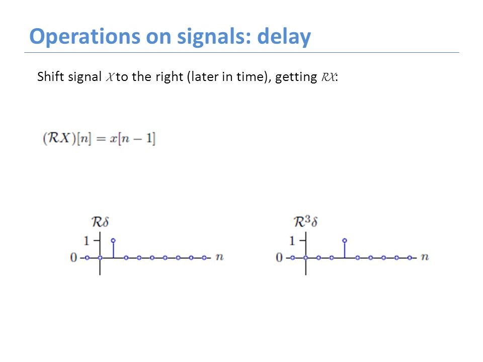 Operations on signals: delay Shift signal X to the right (later in time), getting RX :