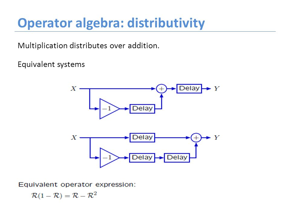 Operator algebra: distributivity Multiplication distributes over addition. Equivalent systems