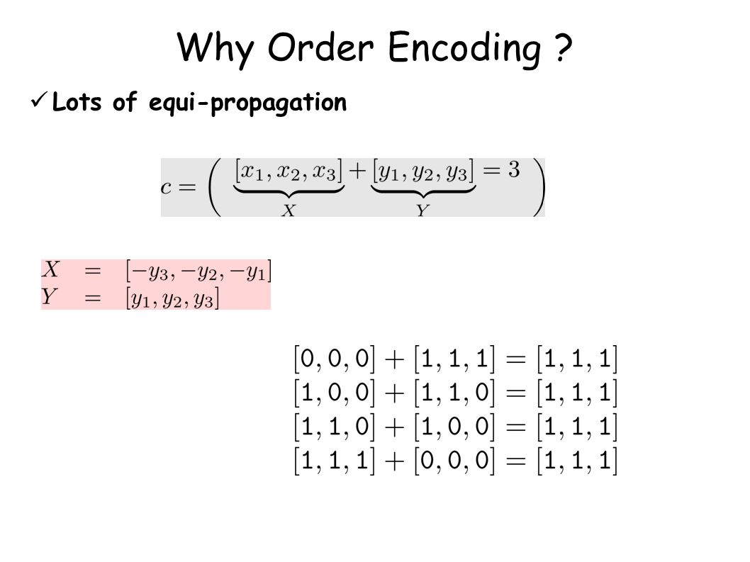 Why Order Encoding ? Lots of equi-propagation