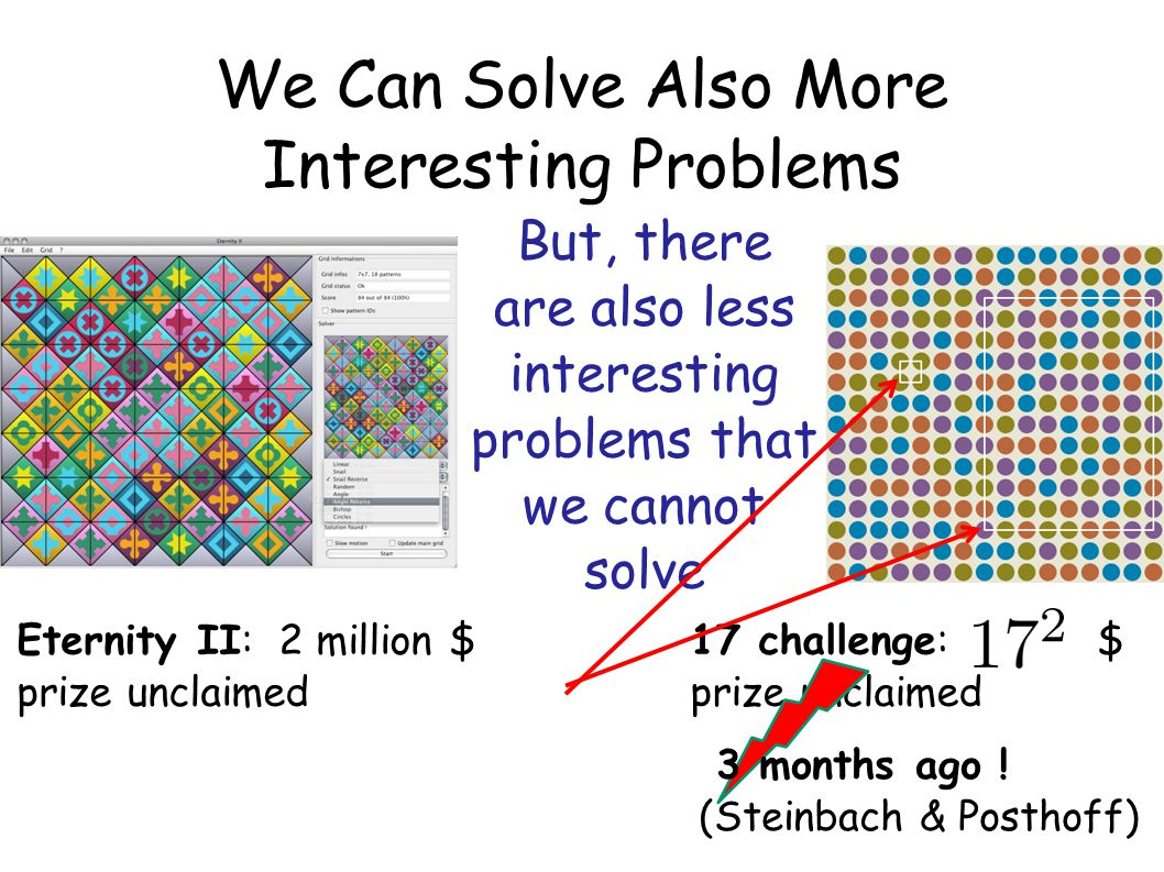 We Can Solve Also More Interesting Problems But, there are also less interesting problems that we cannot solve Eternity II: 2 million $ prize unclaime