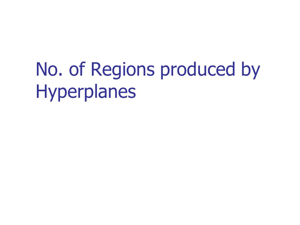No. of Regions produced by Hyperplanes