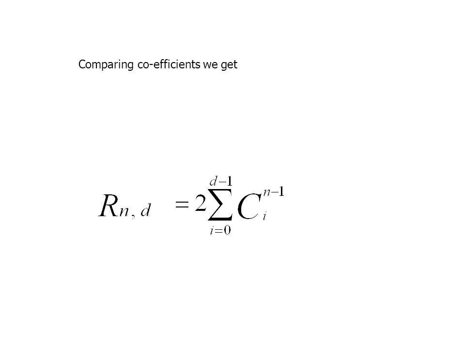 Comparing co-efficients we get