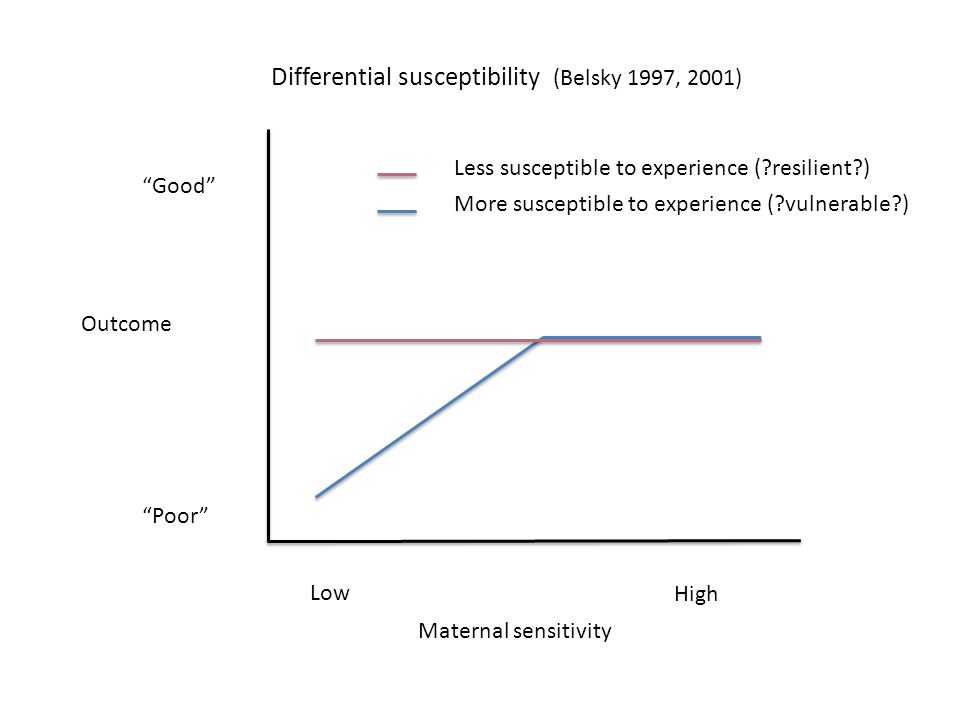Maternal sensitivity Low High Good Poor Outcome Less susceptible to experience ( resilient ) More susceptible to experience ( vulnerable ) Differential susceptibility (Belsky 1997, 2001)