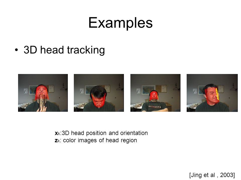 Examples 3D head tracking x k :3D head position and orientation z k : color images of head region [Jing et al, 2003]